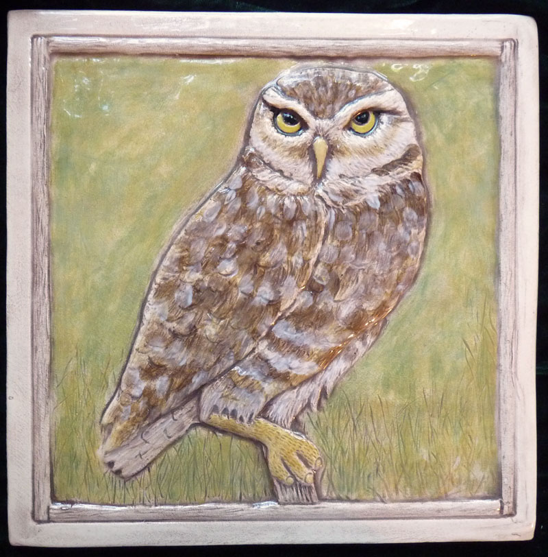 Decorative ceramic owl tile
