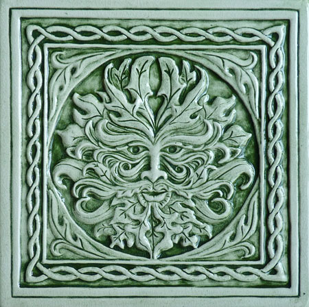 green man ceramic tile